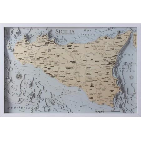 Cartina Mappa Sicilia.Mappa Sicilia Quadro 3d In Legno Cartina Topografica