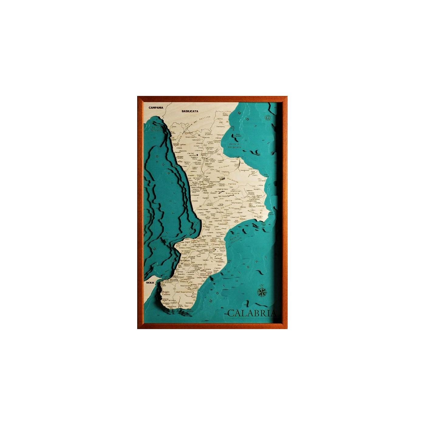 Cartina Fisica Della Calabria.Mappa Calabria Quadro 3d In Legno Cartina Topografica