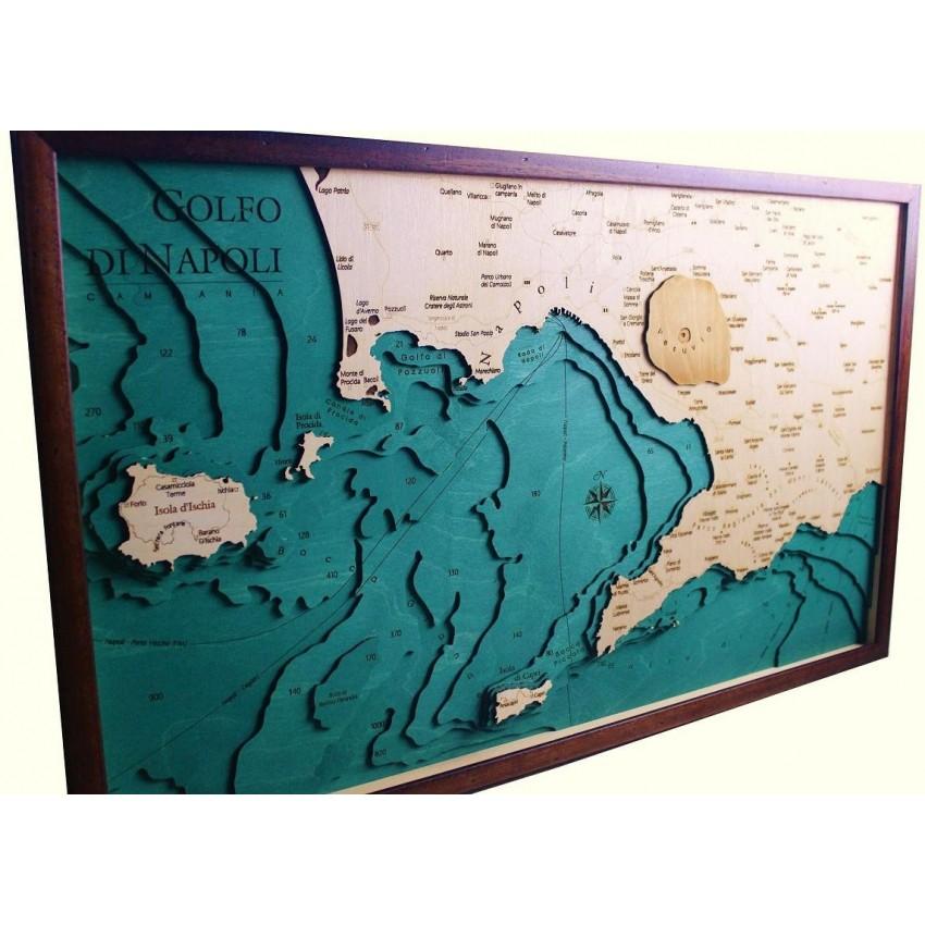 Cartina Fisica Italia Golfi.Mappa Golfo Di Napoli Quadro 3d In Legno Cartina Topografica