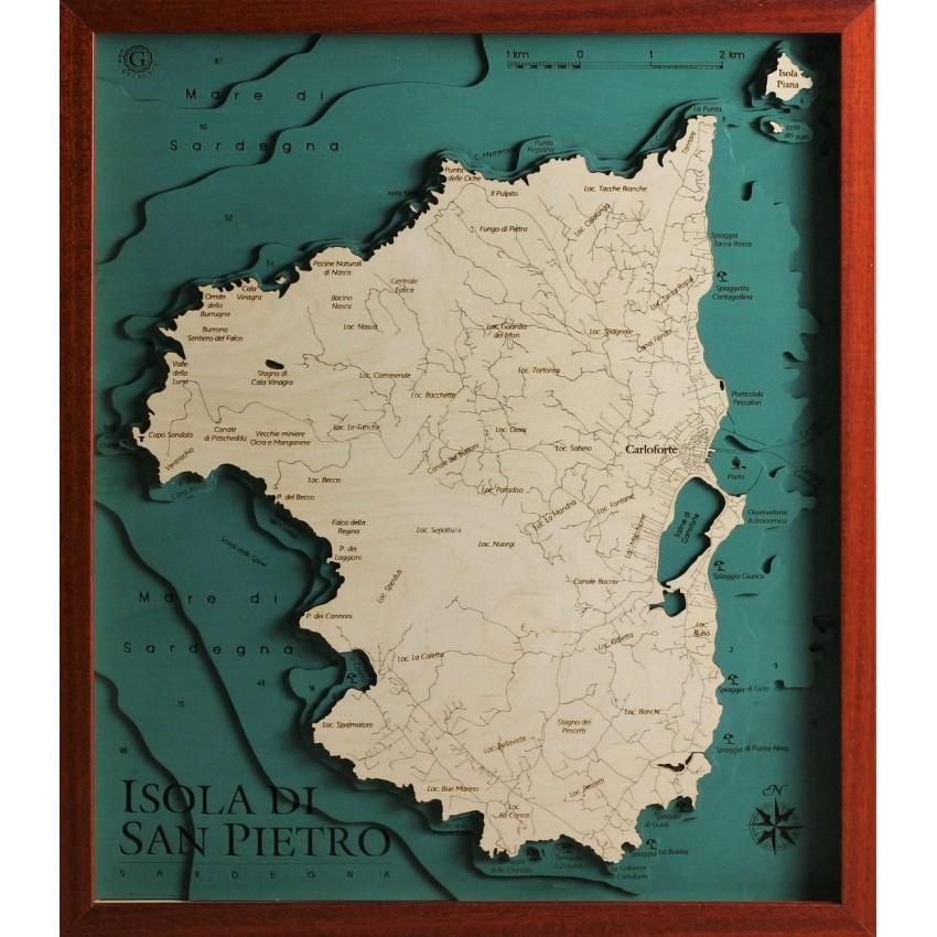Mappa Km Sardegna.Isola Di San Pietro Sardegna