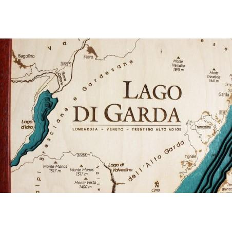 Cartina Topografica Lago Di Garda.Mappa Lago Di Garda Quadro 3d In Legno Cartina Topografica