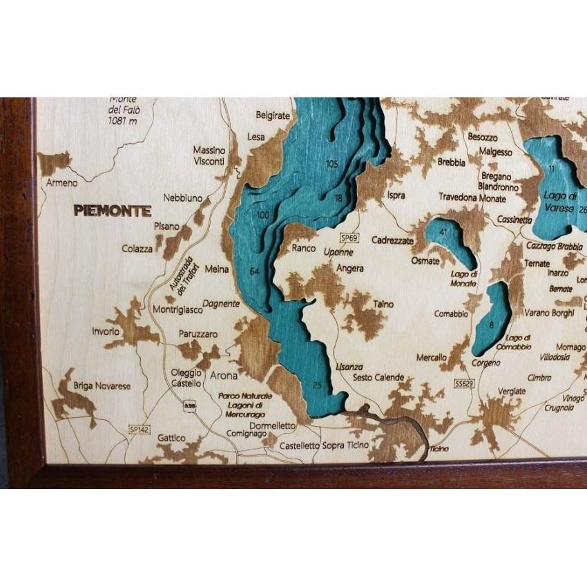 Cartina Lago Maggiore Stradale.Mappa Lago Maggiore Quadro 3d In Legno Cartina Topografica