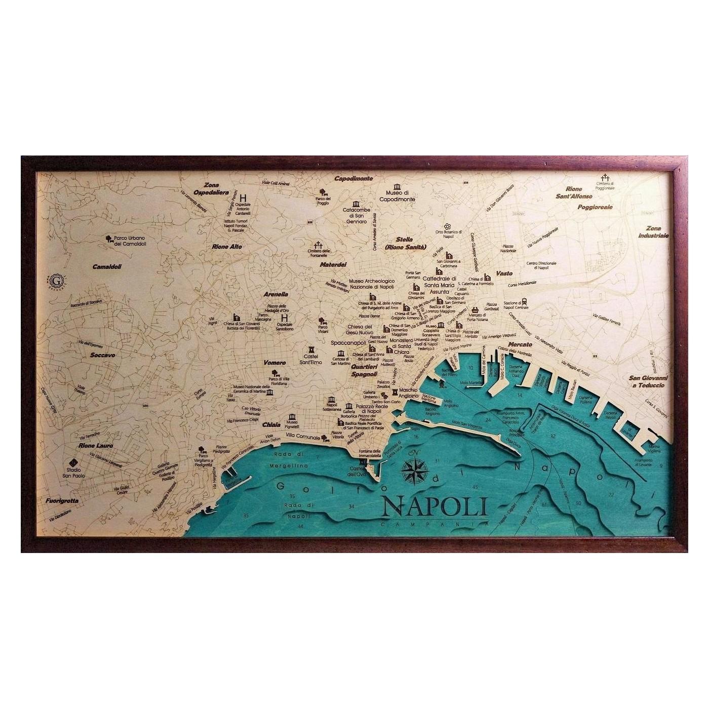 La Cartina Di Napoli.Mappa Napoli Quadro 3d In Legno Cartina Topografica