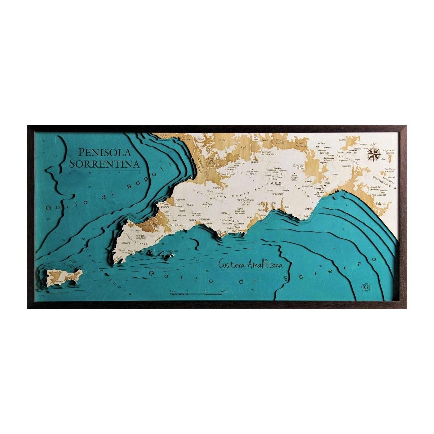 Cartina Costiera Amalfitana E Capri.Penisola Sorrentina Costiera Amalfitana